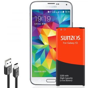 SUNZOS 3200mAh Li-ion Replacement Battery for Samsung Galaxy S5