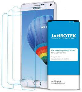 JANBOTEK Galaxy Note 4 Battery with Screen Protector