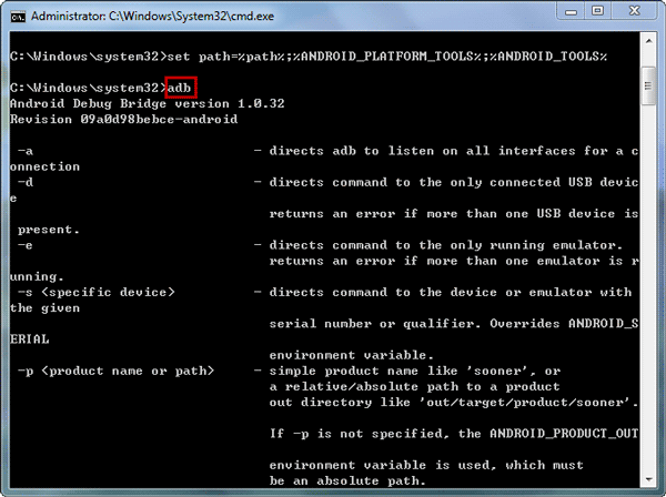 "adb devices"" in the command prompts"
